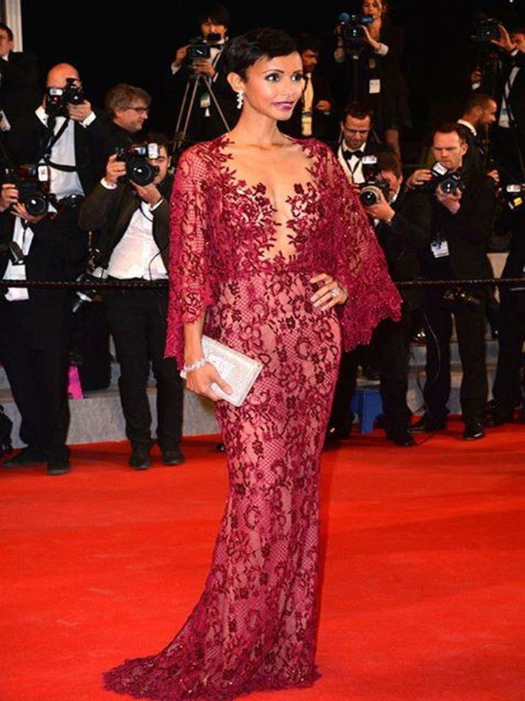 Zuhair Murad Burgundy Lace Bead Mermaid Formal Evening Dresses With Long Sleeve Sonia Rolland Red Carpet Celebrity Dress Prom Gowns