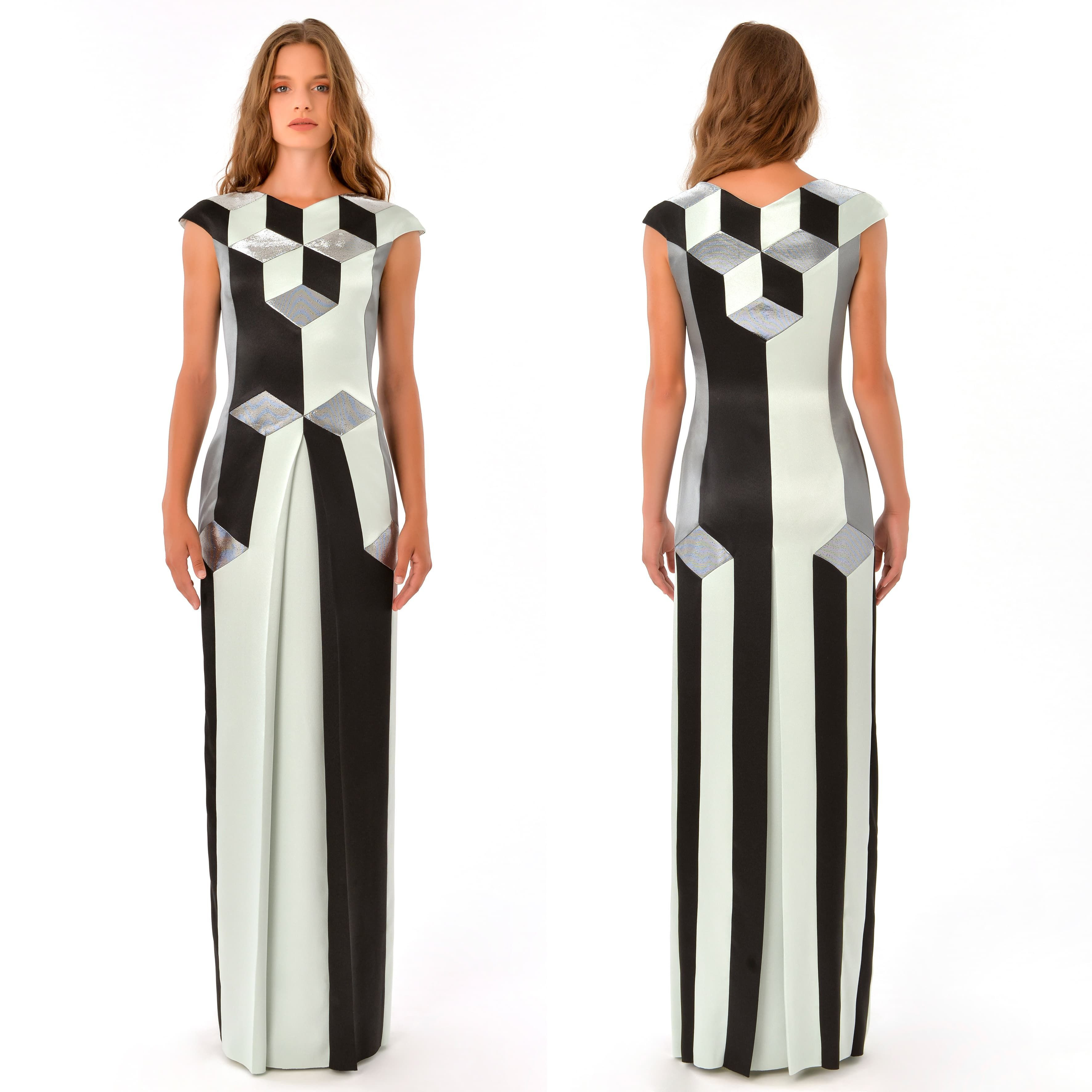 Luxury, geometric, maxi length pure silk evening dress