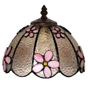 2020 Design Pink Floral Tiffany Fused Klaas Customize Decorative Lampe Accessory Table Lucerna 10 Inch Tifany Lamp Shade