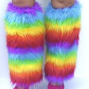 2020 New Orleans long push women boot socks green/yellow/purple push leg sets mardi gras furry footless leg warmer socks