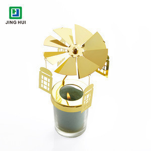 3D DIY Etched Iron Plated Gold Revolving Candle Light Stick