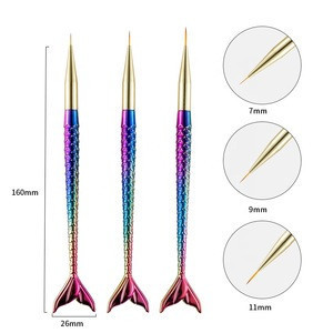 7/9/11mm Nail Art Brush Liner Line Stripe Fish Tail Gradient Pen Design Flower Tips Painting Drawing Acrylic UV Gel Polish Tools