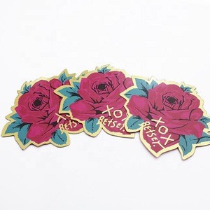 Beautiful rose model garment hang tag new style hot stamping label