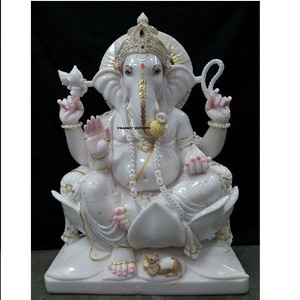 Exclusively hand carved pure white marble indian god  ganesh statue moorti
