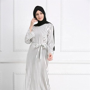 Fashion Elegant muslim dress striped abaya arab turkey dubai kaftan modest long sleeve maxi dress in islamic clothing