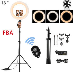 FBA 18 inch dimmable LED Ring Light With Tripod Stand 3200-5500K Lighting For Camera Photo Gallery Youtube video Ring Light