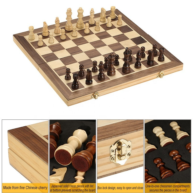 Foldable Wooden International Chess Set For Educational Game