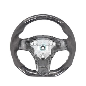 For Tesla Model 3 Forged Carbon Fiber Auto Steering Wheel with White Stitching Black Suede Customized Wheel