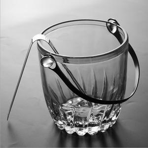Glass ice bucket summer ice bucket round glass ice bucket for beer