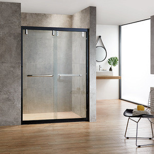 Matte Black Frame Tempered Clear Glass Black Framed Shower Doors