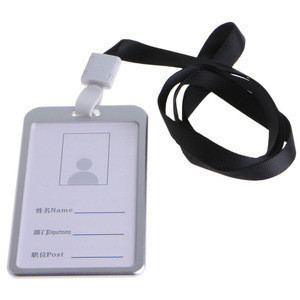 Metal aluminum name tag lanyard with conference dc shoes black key chain id badge holder