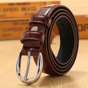 Oem formal style  ladies real brown genuine embossed pu leather belt for women