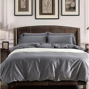 Solid grey Egyptian polyester sheets bedding sets duvet cover bed bedsheet bedspreads fabric