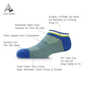 Stripe Arch Support Breathable Athlete Ankle Socks
