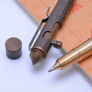 Superior performance old finish full copper thick Hardcore Hardware Titanium Flame Bolt Action Tactical Pen with Glass Breaker