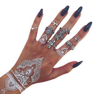 White lace&black lace temporary india henna tattoo stencil