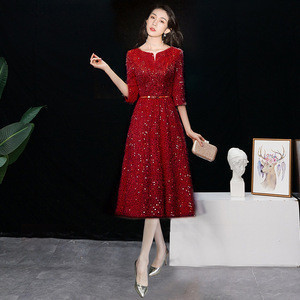 Women Half sleeves Sequined Tassel Formal  Elegant Slim ball gowns cocktail dresses for Evening Party dress
