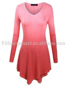 Womens modern dance wear long sleeve gradient hang dye dancewear v neck stage training dress for dancing