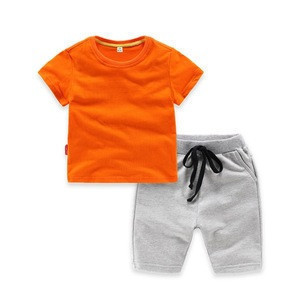 X84279B New Arrival Plain Design Boys Summer Set Blank T-Shirt + Short Boy Clothing Sets Toddler Kids Clothes Set