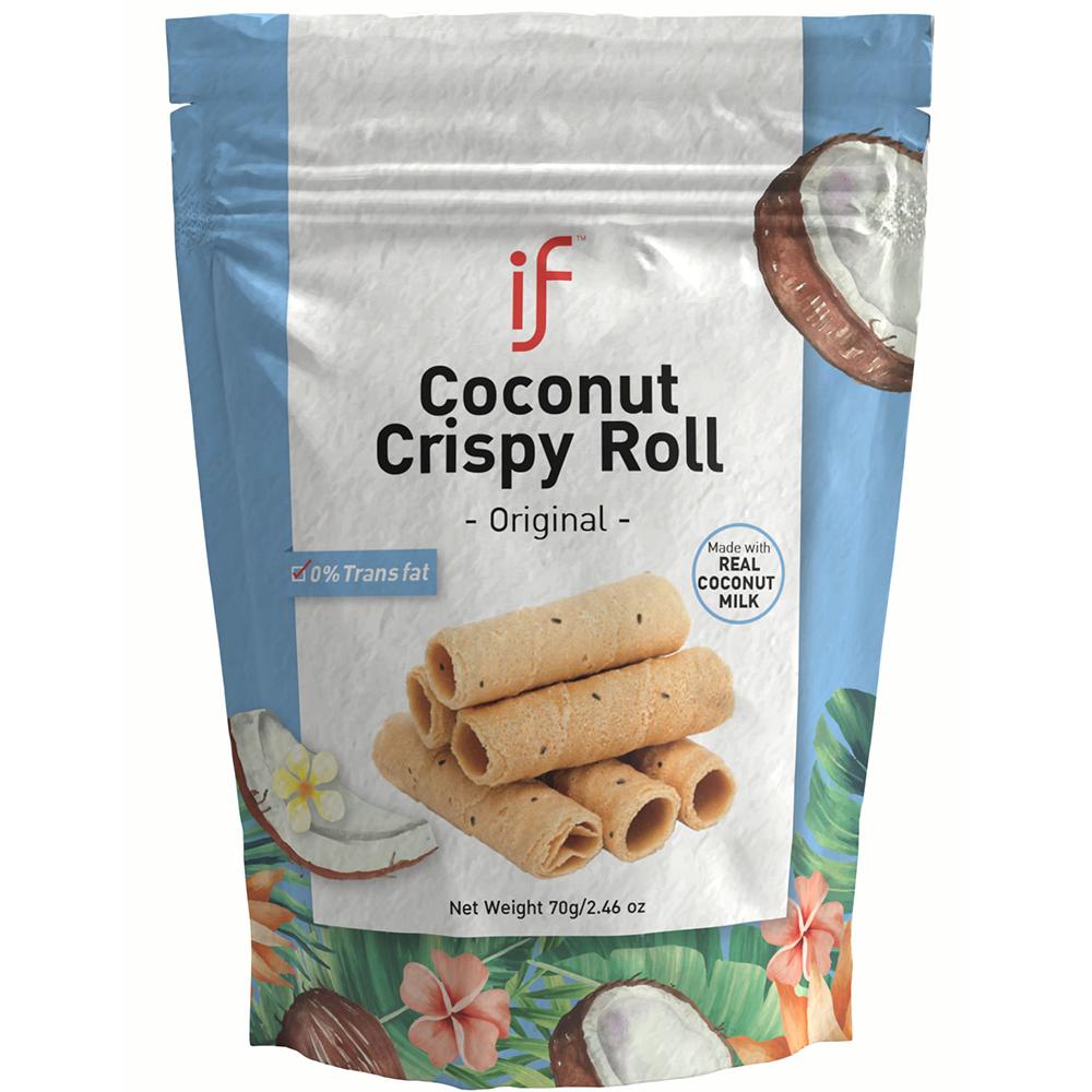 IF Coconut Crispy Roll Original Flavor | Healthy Alternative Snacks | 24 Bag | 2.47 OZ