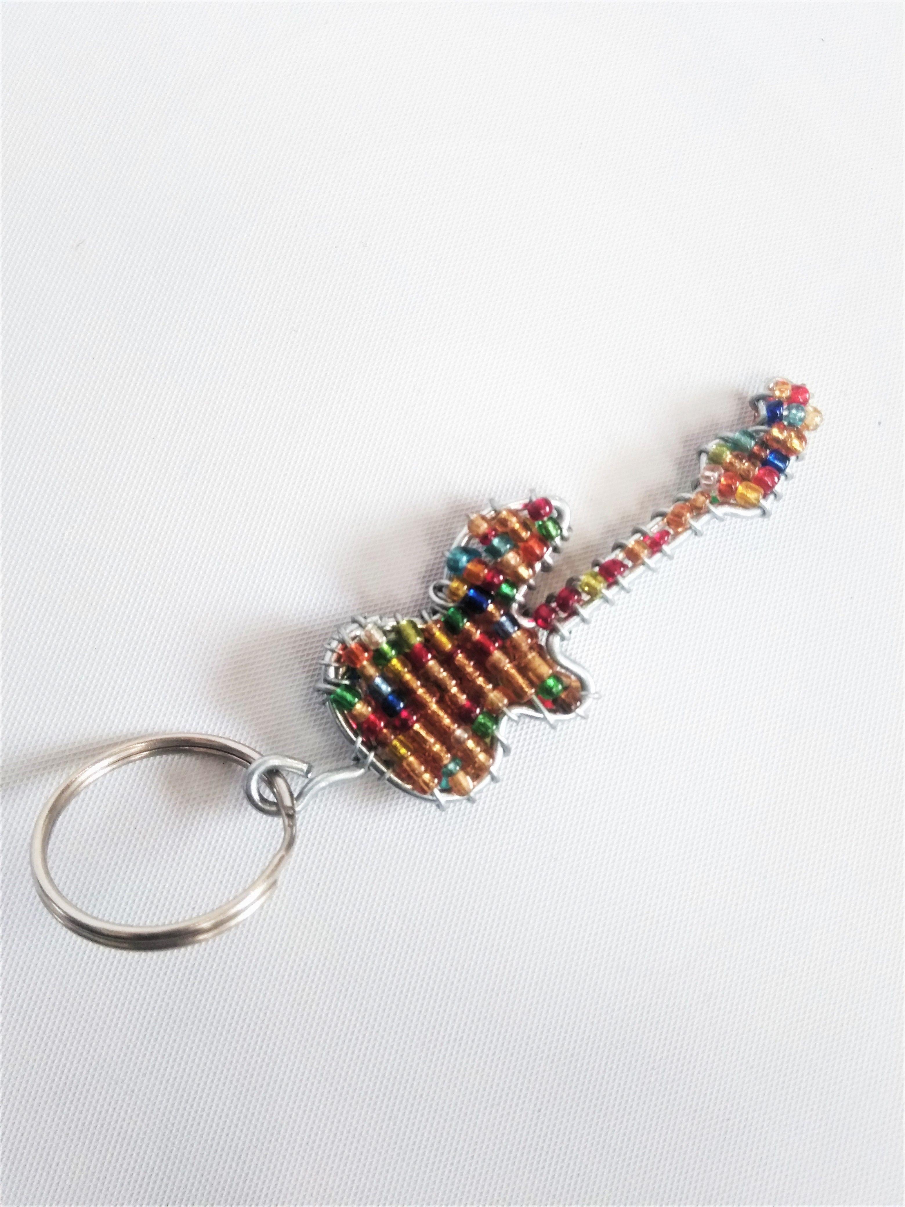 Wire beaded guitar Key rings