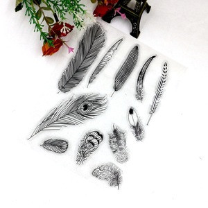 2016 feather cartons silicone rubber stamp wholesale clear stamps for scrapbooking