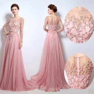 2020 High quality bead embroidered evening dress pink long
