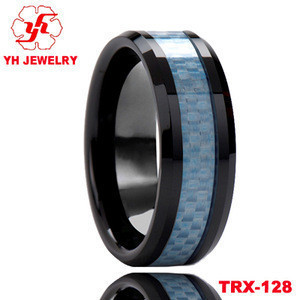 8mm Blue Carbon Fiber Inlay Tungsten Rings Black Ceramic Rings Band