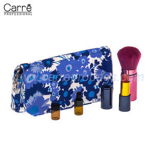 Carre customized blue flower printed canvas makeup clutch with mirror inside