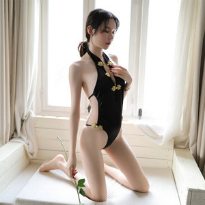 Chinese style Sexy Cheongsam Costume Backless Playsuit One size Lingerie