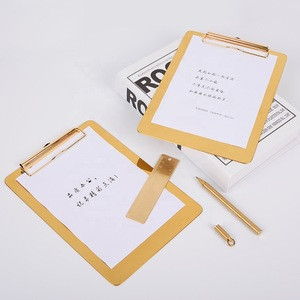 Customized Factory Wholesale Ins European Stainless Steel Gold Color Metal Blank Document Clipboard Holder File Holder