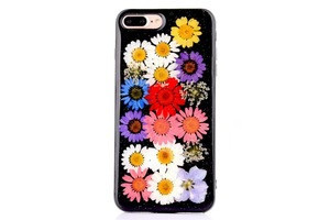 Cute Clear Real Pressed Dry Flowers Cover Case for iPhone X