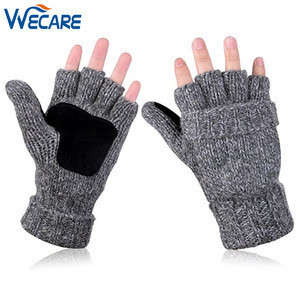 Fingerless Cashmere Thinsulate Thermal Wool Woven Knitted Warm Mittens Cover Winter Gloves