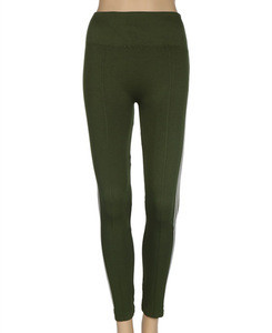 Seamless thermo woman leggings with white strap at side