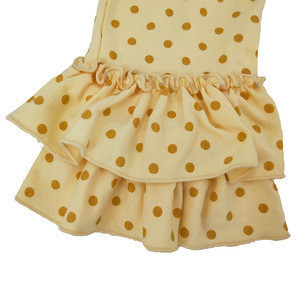 Wholesale girls clothing Valentine's day yellow poalk dot pants girls children boutique full ruffle pants