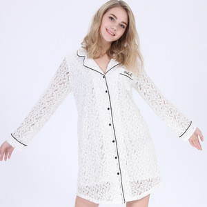 Women fancy Long sleeve Lace fabric Soft lining Sleepshirt Long shirt Nightshirt Roomwear Nightdress pajamas