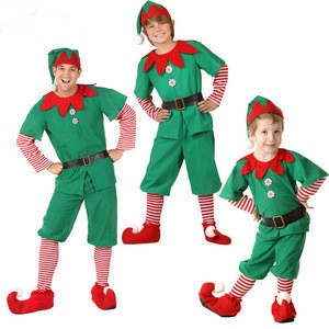 Women Men Children Christmas Santa Claus Costume Kids Adults Family Green Elf Cosplay Costumes Carnival for Party