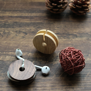 Wood earphone cable holder, round wood earphone cable winder