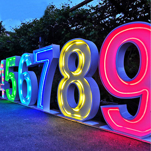 WOWORK Hight quality LED front lit metal event large RGB marquee neon light letters numbers for wedding decoration