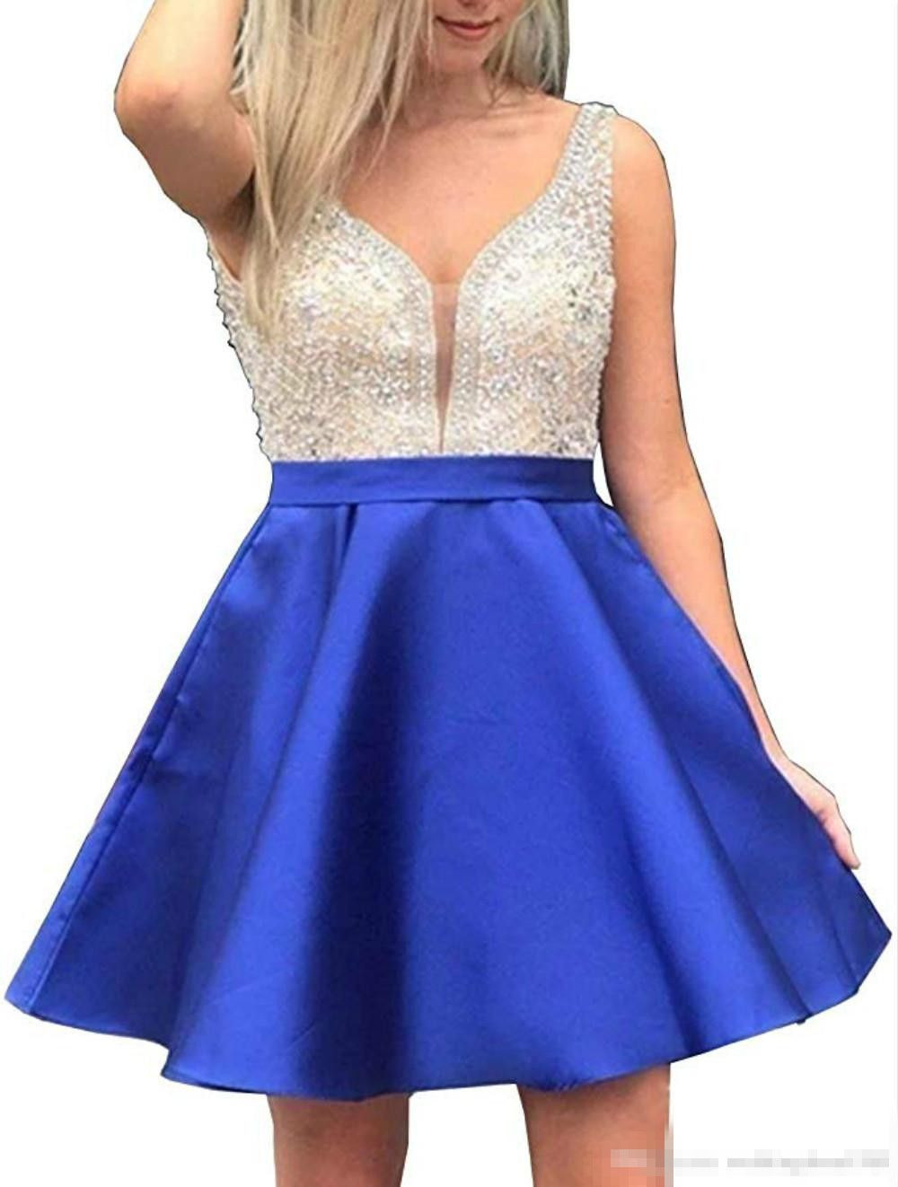 Charming V-Neck Homecoming Dresses With Beads Sequin Plus Size Satin Party Prom Short Juniors Graduation Knee Length Ball Gowns Club Wear