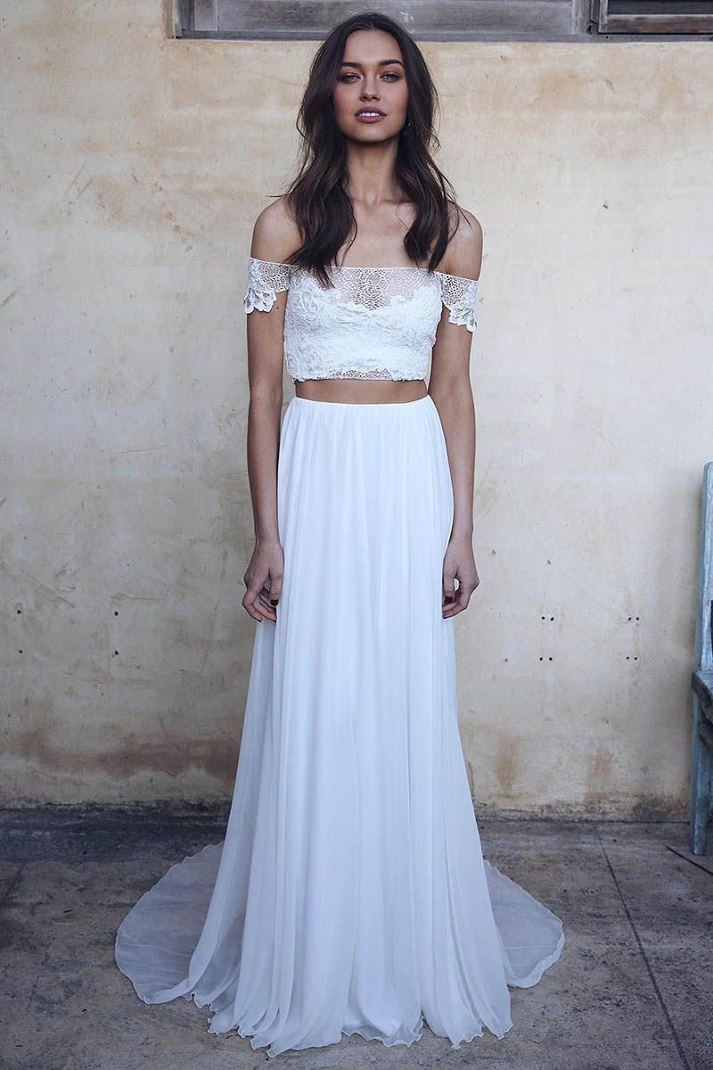 2 Pieces Wedding Dress Lorie Off The Shoulder Lace Top Beach Bride Dresses Boat Neck Elegant Wedding Bridal Gown