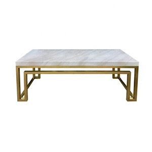 2020 hot sell golden stainless steel rectangle modern marble coffee table