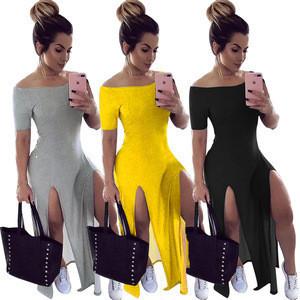 2020 new woman off shoulder long dress casual maxi summer dresses women