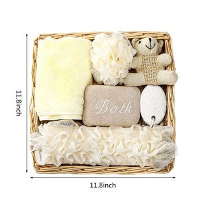 Beauty & Personal Care Bathing Product Women Spa Kit Custom Shower Bath Spa Gift Set with Towel Pumice Stone Loofah Mesh Sponge