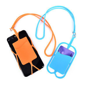 Credit ID Card Bag Holder Silicone Lanyards Neck Strap Necklace Sling Card Holder Strap For iPhone X 8 Universal Mobile Phone