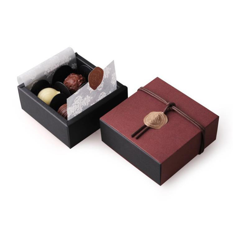 Customized novel design high grade red chocolate truffle boxes handmade diy valentine's day chocolate packaging box