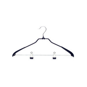 Garment PVC Coated Metal Suit Hanger With 2 Clips For Clothes Suit Hanger