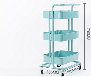 Good quality Antique Appearance hot sale high quality steel Specific Use 3 layers storage cart with casters trolley
