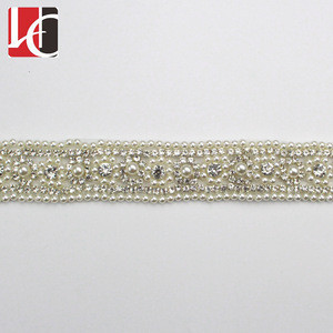 HC-6838 Hechun new design custom pearl rhinestone wedding belt