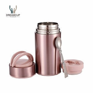 High quality 800 and 1000ml double wall stainless steel food flask, vacuum insulated food jar with spoon